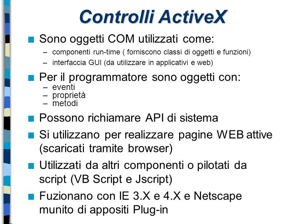 Controlli ActiveX n Sono oggetti COM utilizzati come: –componenti run-time ( forniscono classi di oggetti e funzioni) –interfaccia GUI (da utilizzare