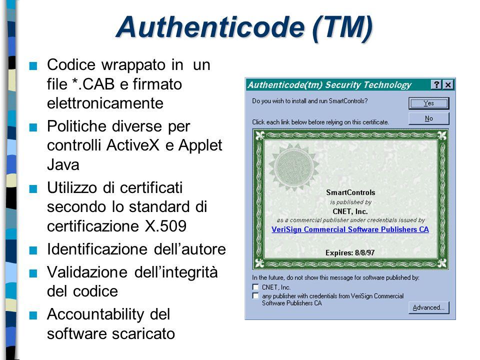 Authenticode (TM) n Codice wrappato in un file *.CAB e firmato elettronicamente n Politiche diverse per controlli ActiveX e Applet Java n Utilizzo di
