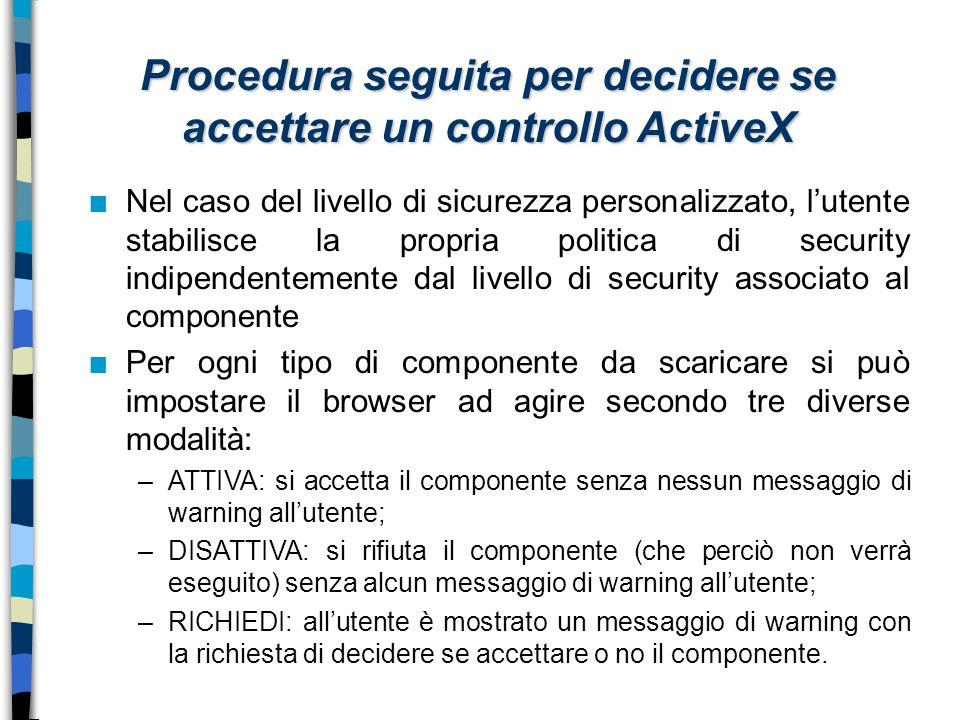 Procedura seguita per decidere se accettare un controllo ActiveX n Nel caso del livello di sicurezza personalizzato, l'utente stabilisce la propria po