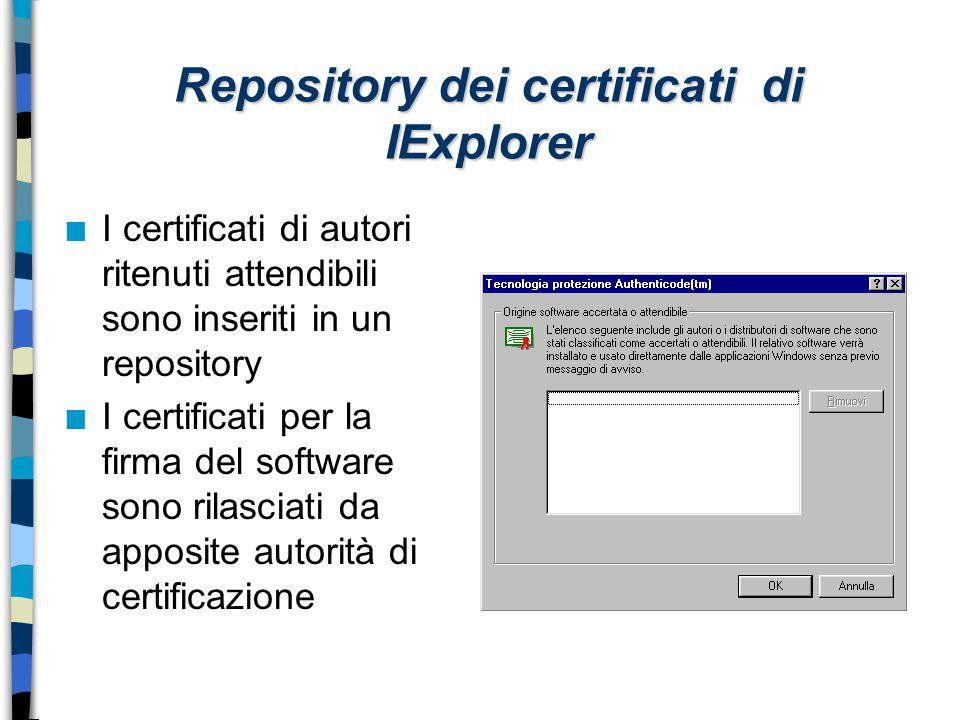 Repository dei certificati di IExplorer n I certificati di autori ritenuti attendibili sono inseriti in un repository n I certificati per la firma del