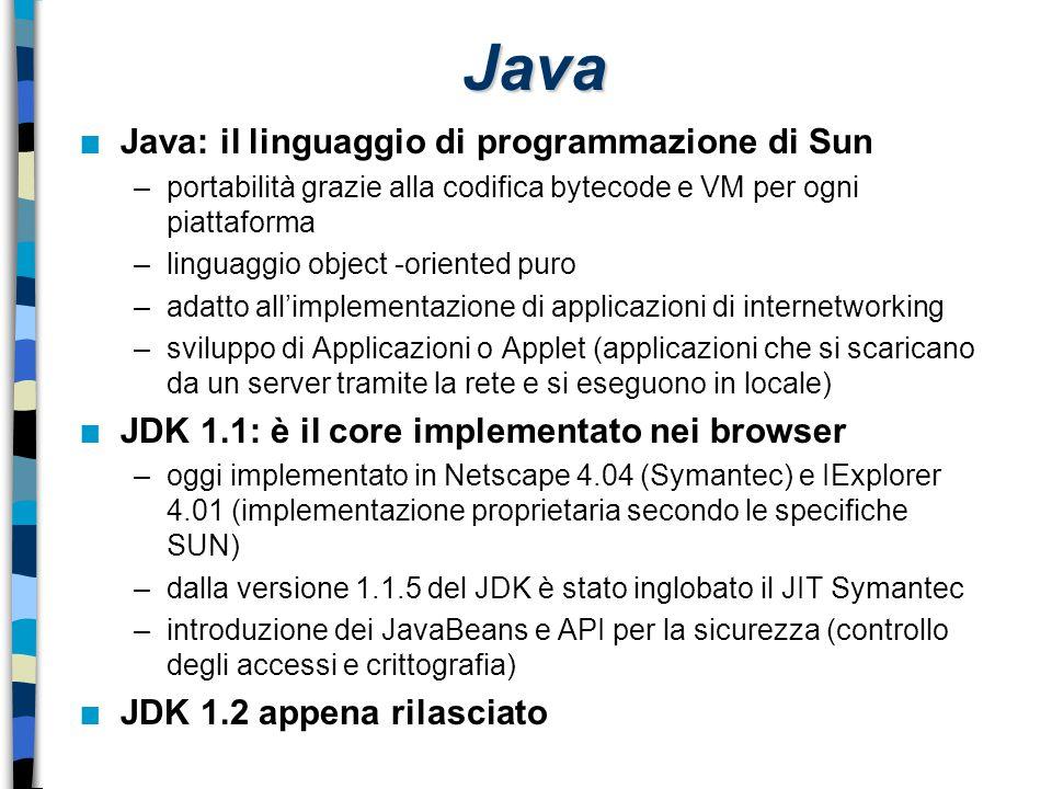 Java n Java: il linguaggio di programmazione di Sun –portabilità grazie alla codifica bytecode e VM per ogni piattaforma –linguaggio object -oriented