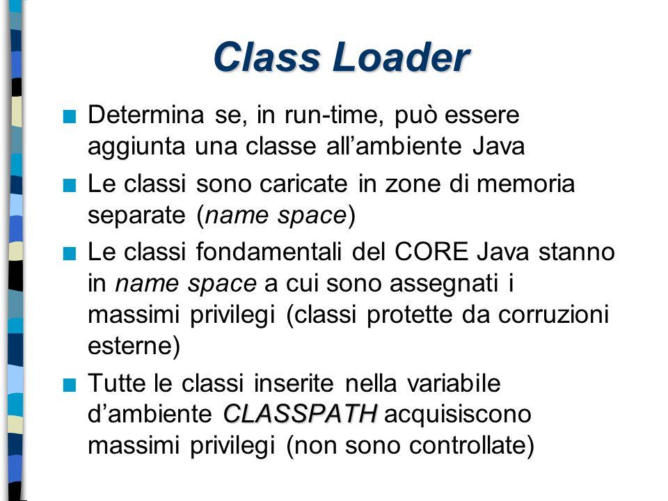 Class Loader n Determina se, in run-time, può essere aggiunta una classe all'ambiente Java n Le classi sono caricate in zone di memoria separate (name