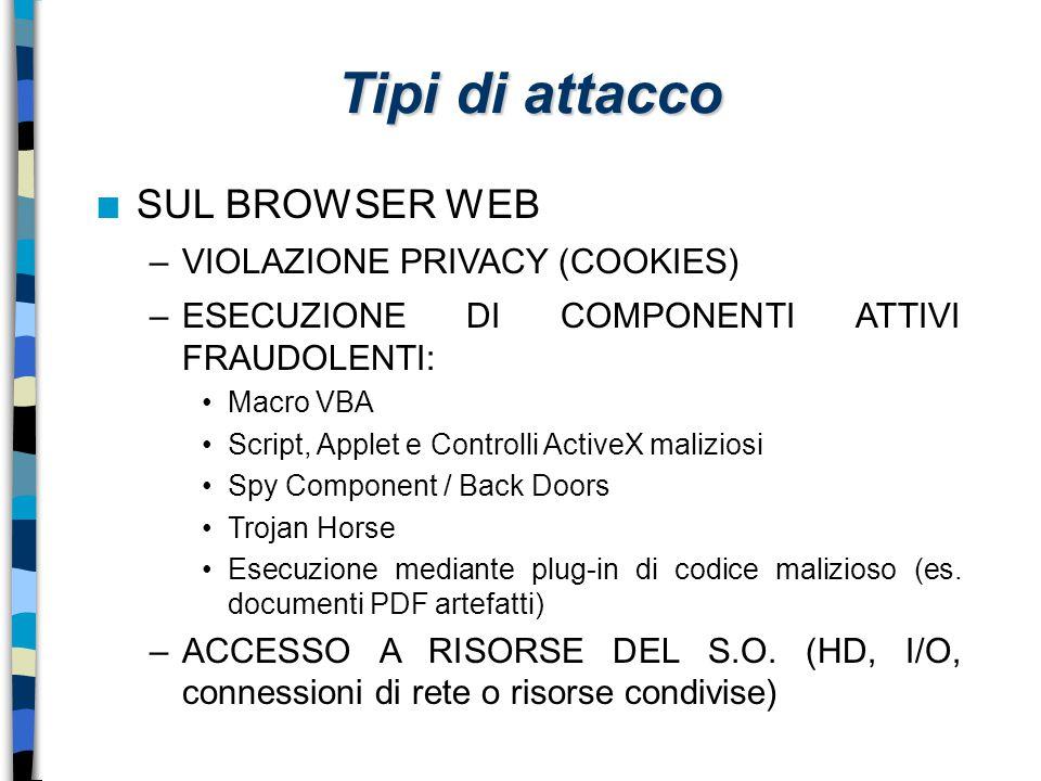 Tipi di attacco n SUL BROWSER WEB –VIOLAZIONE PRIVACY (COOKIES) –ESECUZIONE DI COMPONENTI ATTIVI FRAUDOLENTI: Macro VBA Script, Applet e Controlli Act