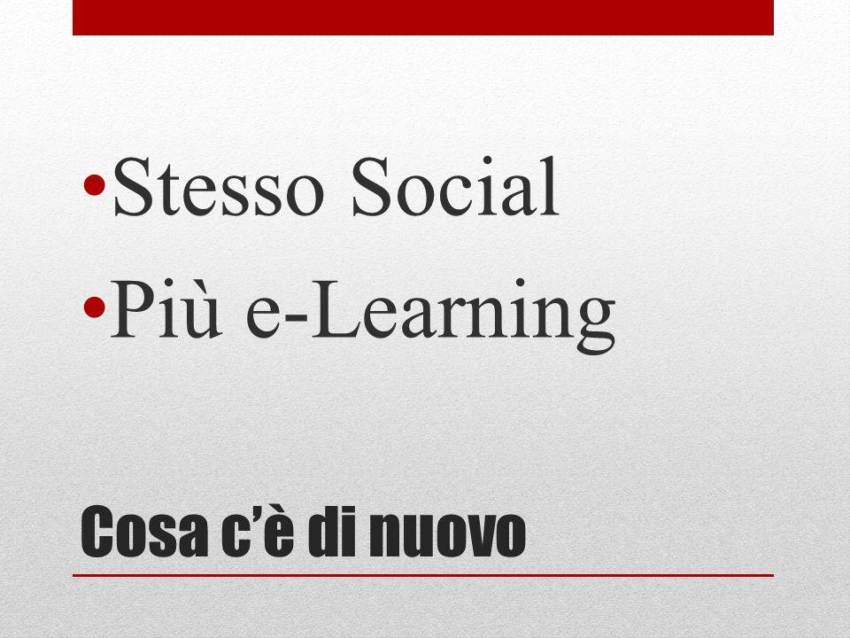 Cosa c'è di nuovo Stesso Social Più e-Learning