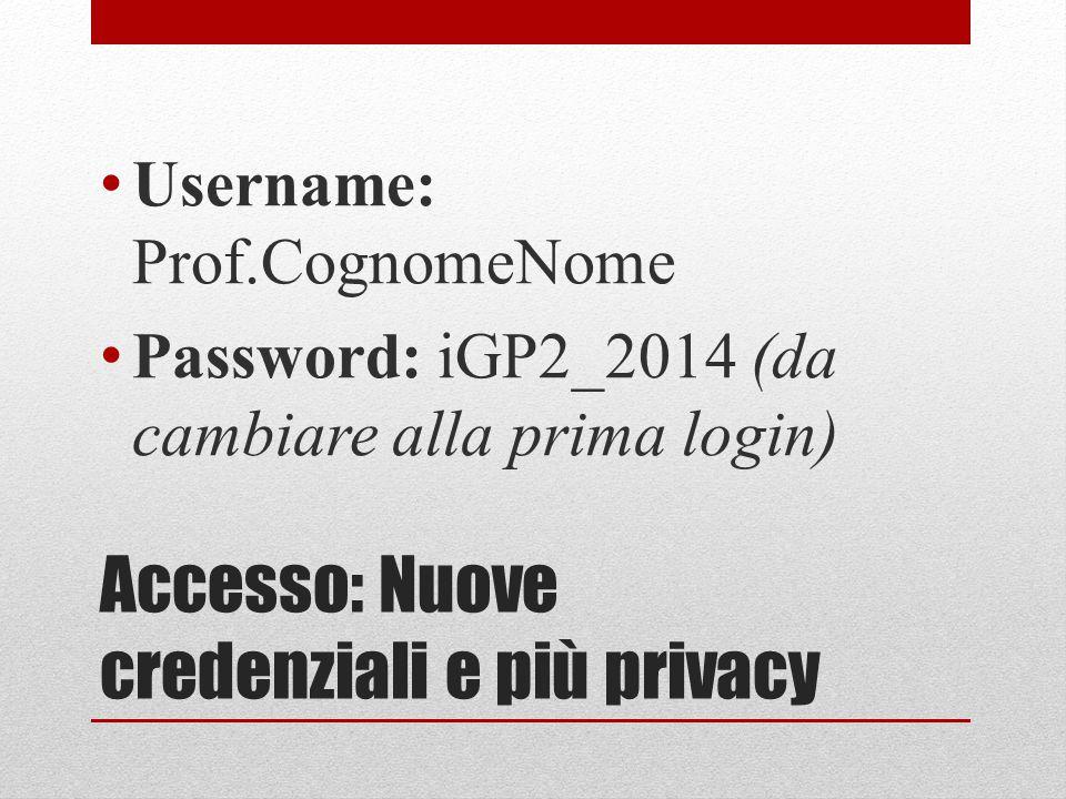 Accesso: Nuove credenziali e più privacy Username: Prof.CognomeNome Password: iGP2_2014 (da cambiare alla prima login)