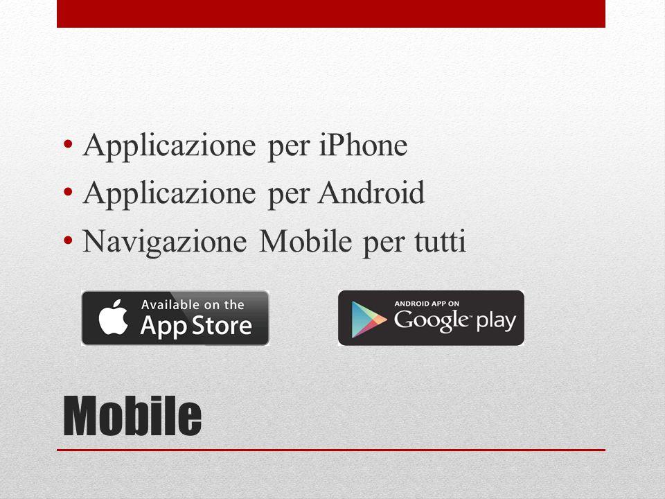 Mobile Applicazione per iPhone Applicazione per Android Navigazione Mobile per tutti