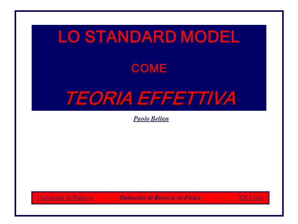 LO STANDARD MODEL COME TEORIA EFFETTIVA Paolo Bellan Università di Padova - Dottorato di Ricerca in Fisica - XX Ciclo