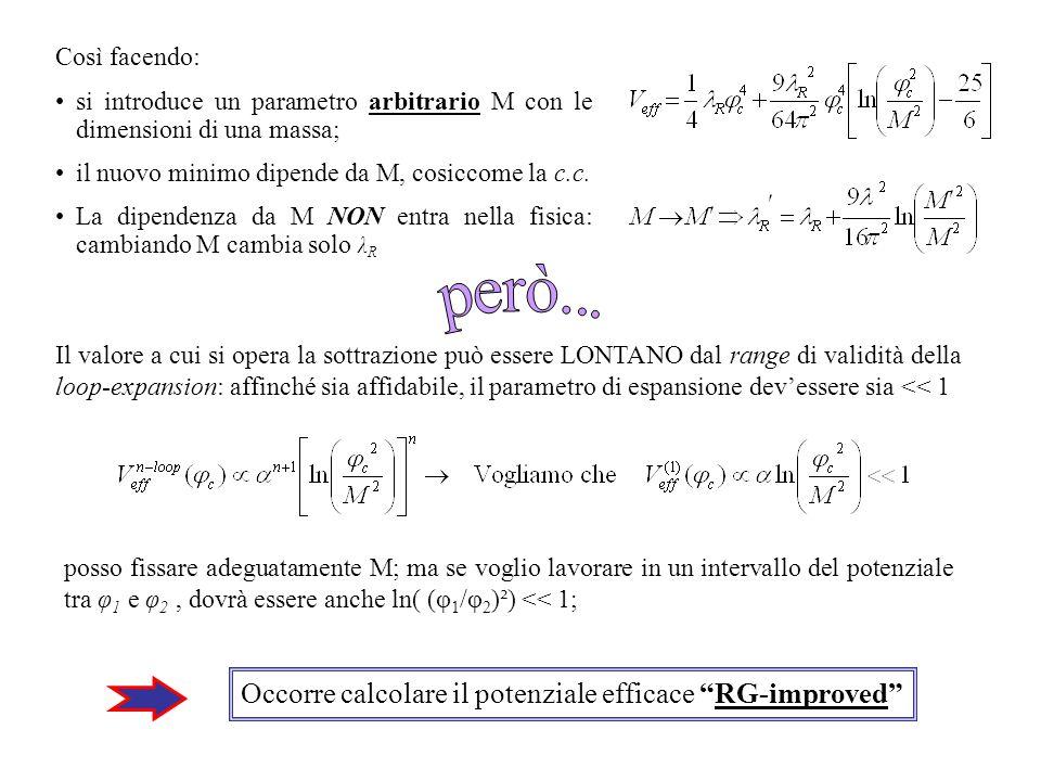 Così facendo: si introduce un parametro arbitrario M con le dimensioni di una massa; il nuovo minimo dipende da M, cosiccome la c.c. La dipendenza da