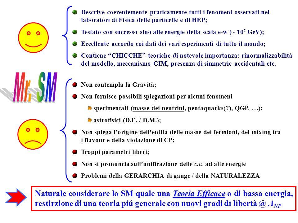 Descrive coerentemente praticamente tutti i fenomeni osservati nel laboratori di Fisica delle particelle e di HEP; Testato con successo sino alle ener