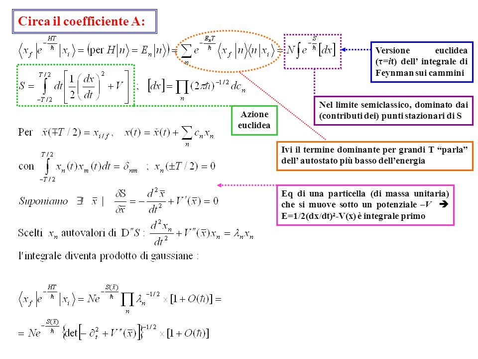 Versione euclidea (τ=it) dell' integrale di Feynman sui cammini Eq di una particella (di massa unitaria) che si muove sotto un potenziale –V  E=1/2(dx/dt)²-V(x) è integrale primo Ivi il termine dominante per grandi T parla dell' autostato più basso dell'energia Nel limite semiclassico, dominato dai (contributi dei) punti stazionari di S Azione euclidea Circa il coefficiente A: