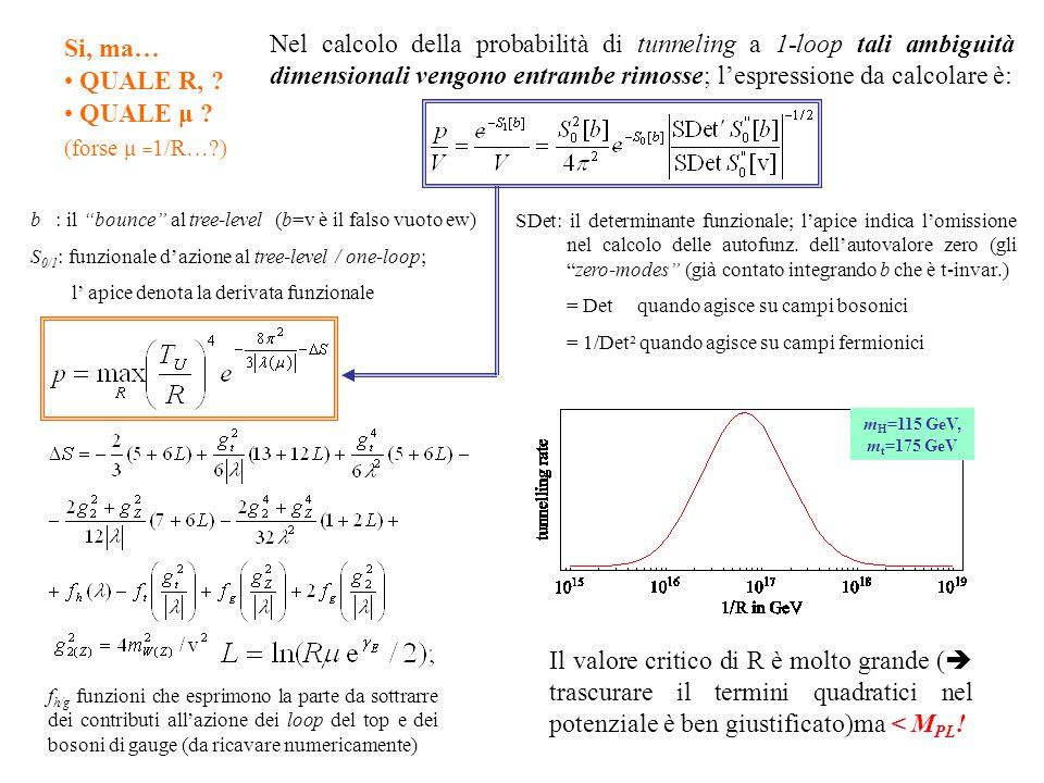 Nel calcolo della probabilità di tunneling a 1-loop tali ambiguità dimensionali vengono entrambe rimosse; l'espressione da calcolare è: f h/g funzioni che esprimono la parte da sottrarre dei contributi all'azione dei loop del top e dei bosoni di gauge (da ricavare numericamente) b : il bounce al tree-level (b=v è il falso vuoto ew) S 0/1 : funzionale d'azione al tree-level / one-loop; l' apice denota la derivata funzionale Si, ma… QUALE R, .