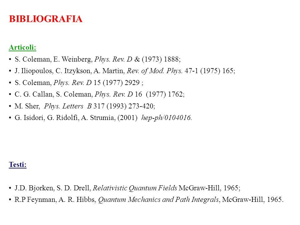 BIBLIOGRAFIA Articoli: S. Coleman, E. Weinberg, Phys. Rev. D & (1973) 1888; J. Iliopoulos, C. Itzykson, A. Martin, Rev. of Mod. Phys. 47-1 (1975) 165