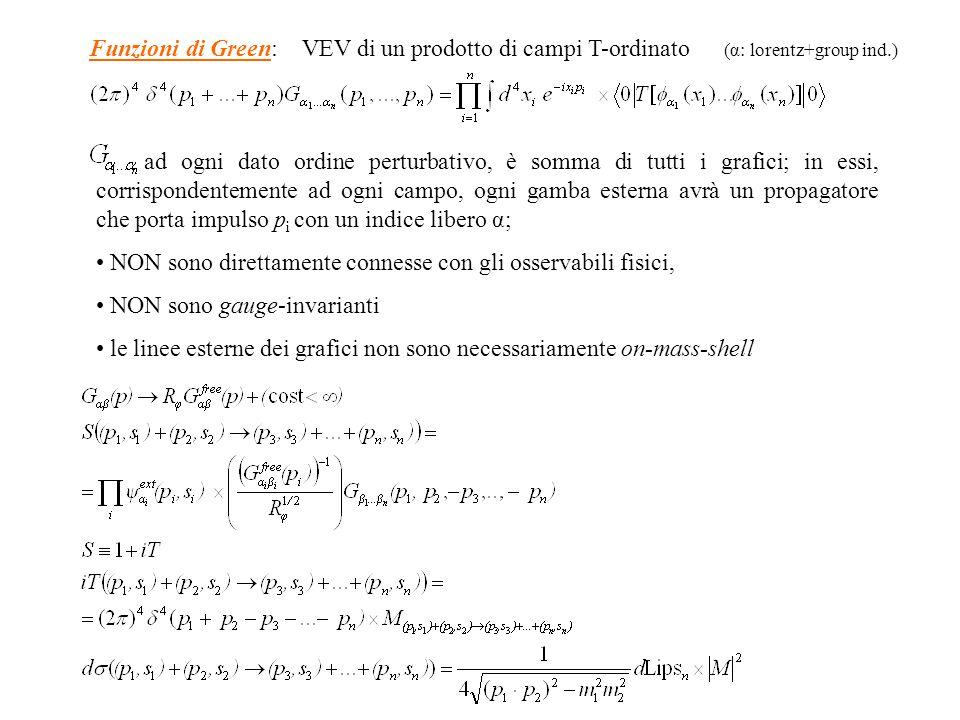 ad ogni dato ordine perturbativo, è somma di tutti i grafici; in essi, corrispondentemente ad ogni campo, ogni gamba esterna avrà un propagatore che porta impulso p i con un indice libero α; NON sono direttamente connesse con gli osservabili fisici, NON sono gauge-invarianti le linee esterne dei grafici non sono necessariamente on-mass-shell Funzioni di Green: VEV di un prodotto di campi T-ordinato (α: lorentz+group ind.)