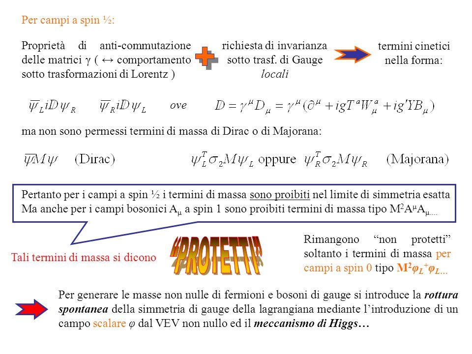 termini cinetici nella forma: ove ma non sono permessi termini di massa di Dirac o di Majorana: Pertanto per i campi a spin ½ i termini di massa sono