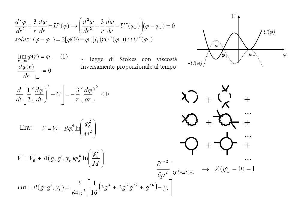 ~ legge di Stokes con viscostà inversamente proporzionale al tempo φ-φ- φ+φ+ φ U U(φ)U(φ) -U(φ) φ1φ1 + ++…+… +…+… ++…+… Era: