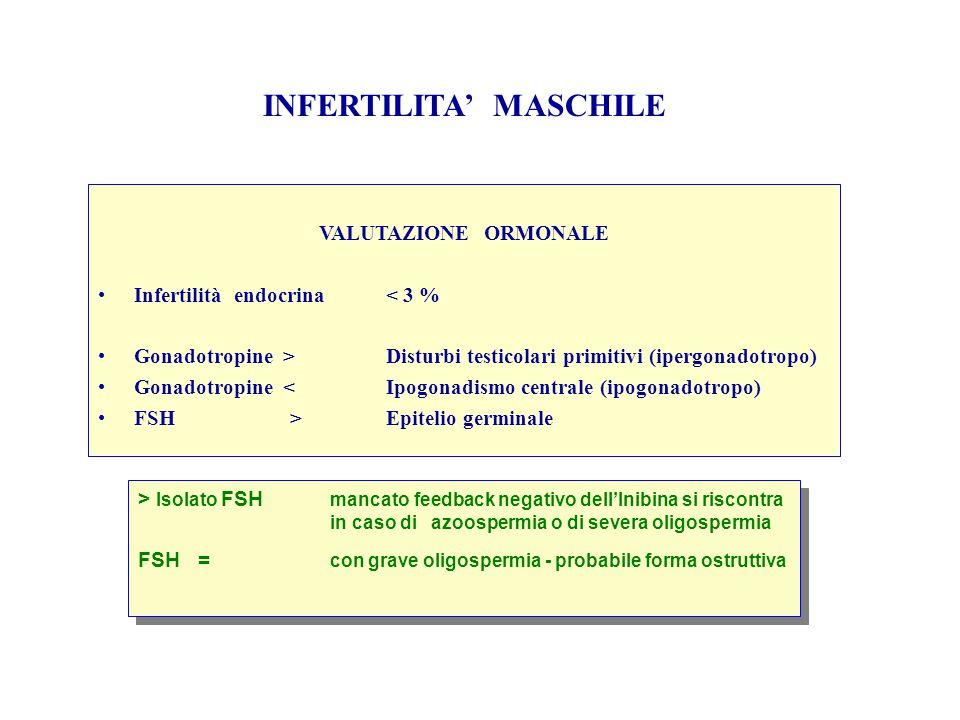 VALUTAZIONE ORMONALE Infertilità endocrina< 3 % Gonadotropine >Disturbi testicolari primitivi (ipergonadotropo) Gonadotropine <Ipogonadismo centrale (ipogonadotropo) FSH>Epitelio germinale > Isolato FSH mancato feedback negativo dell'Inibina si riscontra in caso di azoospermia o di severa oligospermia FSH = con grave oligospermia - probabile forma ostruttiva > Isolato FSH mancato feedback negativo dell'Inibina si riscontra in caso di azoospermia o di severa oligospermia FSH = con grave oligospermia - probabile forma ostruttiva
