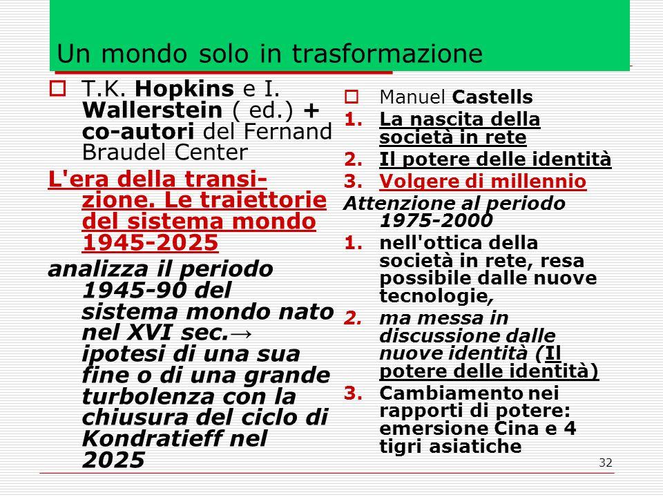 32 Un mondo solo in trasformazione  T.K. Hopkins e I.