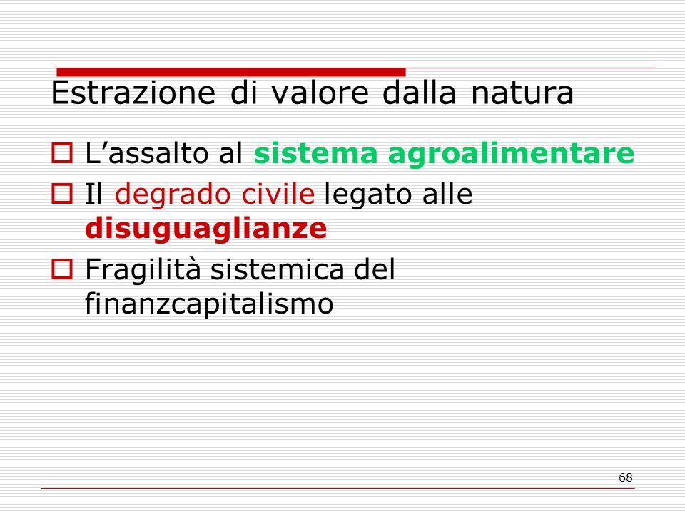 68 Estrazione di valore dalla natura  L'assalto al sistema agroalimentare  Il degrado civile legato alle disuguaglianze  Fragilità sistemica del finanzcapitalismo