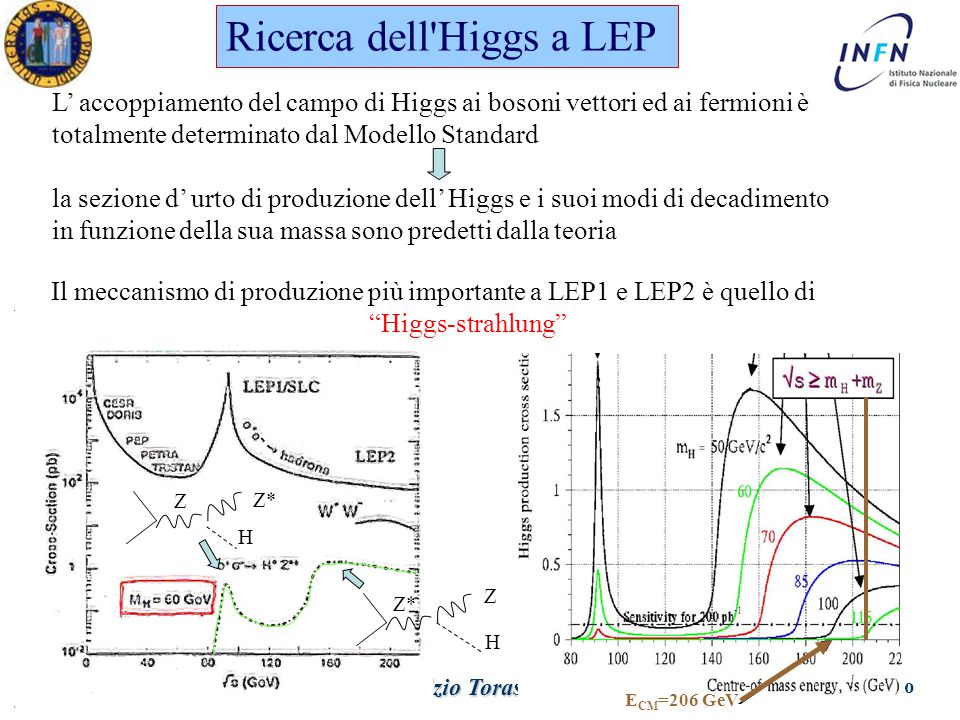 Dottorato in Fisica XX Ciclo Padova 1 Giugno 2005 Ezio Torassa Ricerca dell Higgs a LEP L' accoppiamento del campo di Higgs ai bosoni vettori ed ai fermioni è totalmente determinato dal Modello Standard la sezione d' urto di produzione dell' Higgs e i suoi modi di decadimento in funzione della sua massa sono predetti dalla teoria Z Z* H H Z Il meccanismo di produzione più importante a LEP1 e LEP2 è quello di Higgs-strahlung E CM =206 GeV