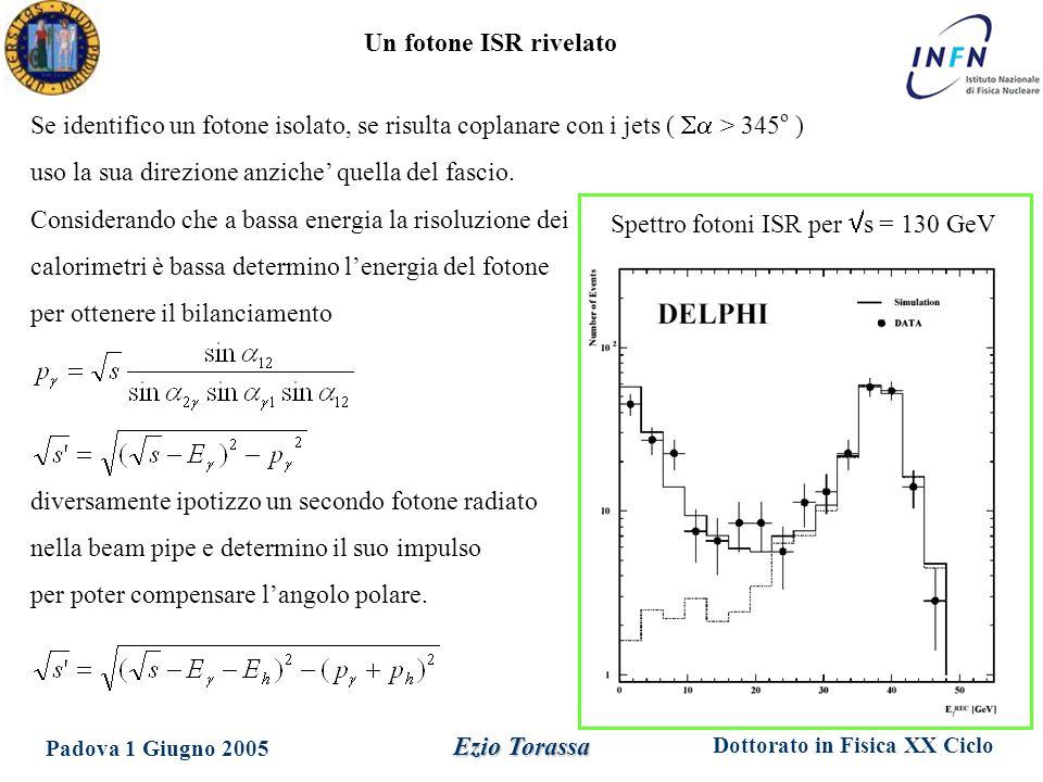Dottorato in Fisica XX Ciclo Padova 1 Giugno 2005 Ezio Torassa Un fotone ISR rivelato Se identifico un fotone isolato, se risulta coplanare con i jets (  > 345 o ) uso la sua direzione anziche' quella del fascio.