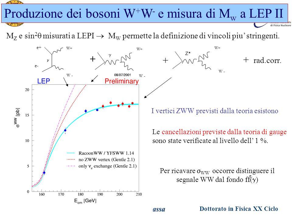 Dottorato in Fisica XX Ciclo Padova 1 Giugno 2005 Ezio Torassa Produzione dei bosoni W + W - e misura di M w a LEP II M Z e sin 2  misurati a LEPI  M W permette la definizione di vincoli piu' stringenti.
