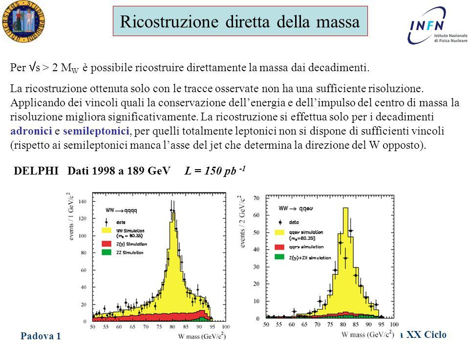 Dottorato in Fisica XX Ciclo Padova 1 Giugno 2005 Ezio Torassa Ricostruzione diretta della massa Per  s > 2 M W è possibile ricostruire direttamente