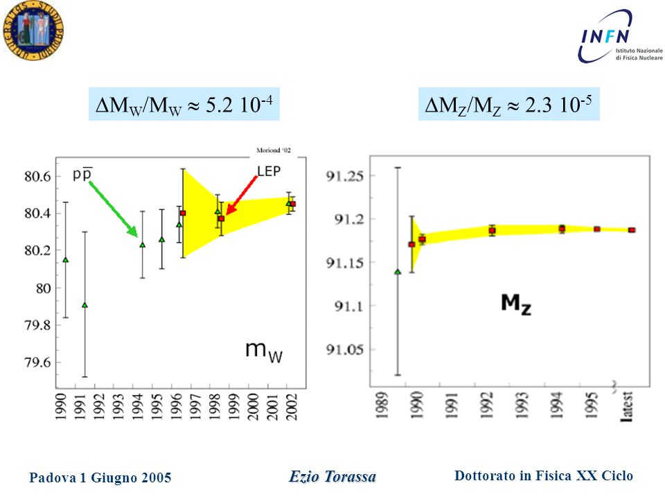 Dottorato in Fisica XX Ciclo Padova 1 Giugno 2005 Ezio Torassa  M Z /M Z  2.3 10 -5  M W /M W  5.2 10 -4