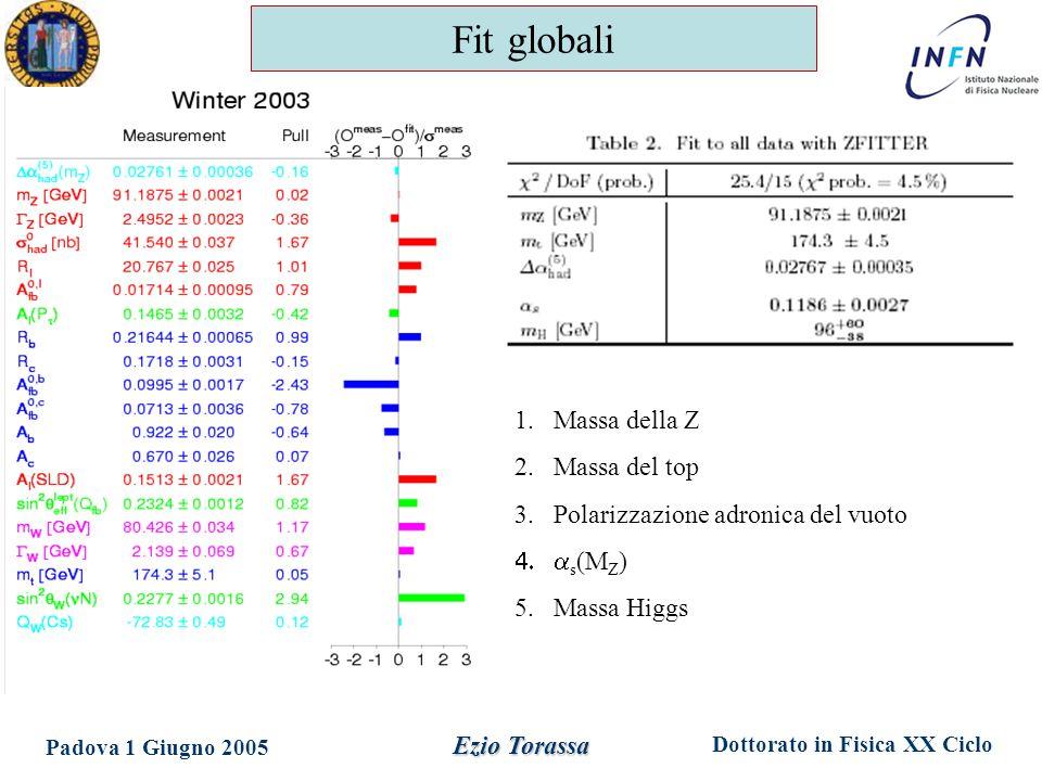 Dottorato in Fisica XX Ciclo Padova 1 Giugno 2005 Ezio Torassa Fit globali 1.Massa della Z 2.Massa del top 3.Polarizzazione adronica del vuoto  s (M Z ) 5.Massa Higgs