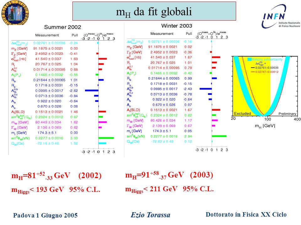 Dottorato in Fisica XX Ciclo Padova 1 Giugno 2005 Ezio Torassa m H =81 +52 -33 GeV (2002) m Higgs < 193 GeV 95% C.L. m H =91 +58 -37 GeV (2003) m Higg