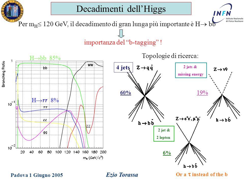 Dottorato in Fisica XX Ciclo Padova 1 Giugno 2005 Ezio Torassa Canale di decadimento in neutrini 2 jets & missing energy La segnatura è un evento adronico fortemente sbilanciato: Massa invariante dei due jet  M Z Jet su rette non collineari Il fondo è costituito dai decadimenti dalla Z in quark b Momento trasverso dei leptoni b c uds Parametri d'impatto delle tracce uds c b Ricerca dell'Higgs a LEP1