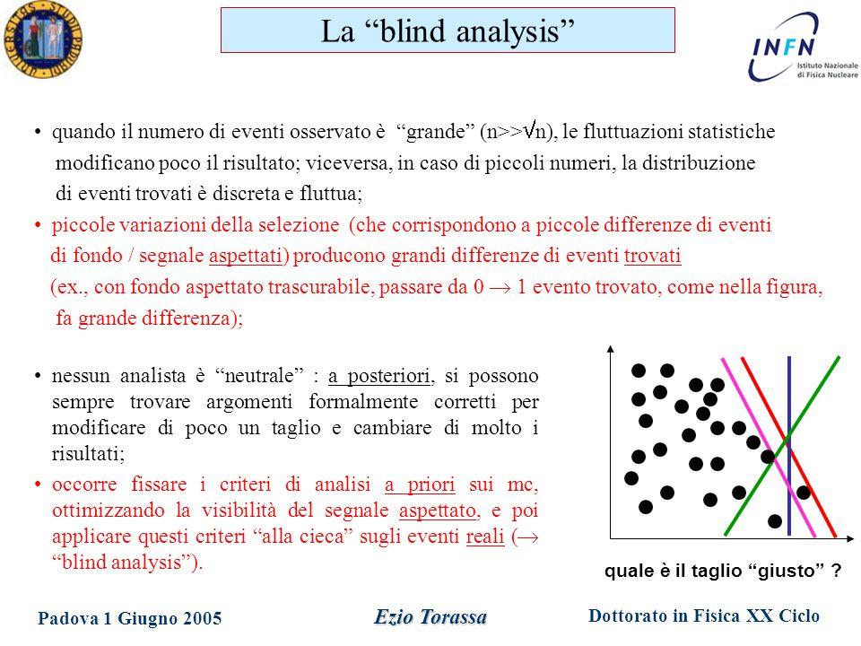 """Dottorato in Fisica XX Ciclo Padova 1 Giugno 2005 Ezio Torassa quando il numero di eventi osservato è """"grande"""" (n>>  n), le fluttuazioni statistiche"""