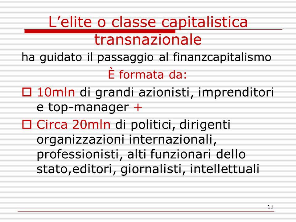 13 L'elite o classe capitalistica transnazionale ha guidato il passaggio al finanzcapitalismo È formata da:  10mln di grandi azionisti, imprenditori e top-manager +  Circa 20mln di politici, dirigenti organizzazioni internazionali, professionisti, alti funzionari dello stato,editori, giornalisti, intellettuali