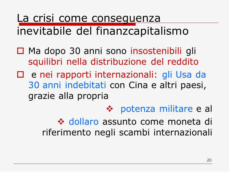 20 La crisi come conseguenza inevitabile del finanzcapitalismo  Ma dopo 30 anni sono insostenibili gli squilibri nella distribuzione del reddito  e