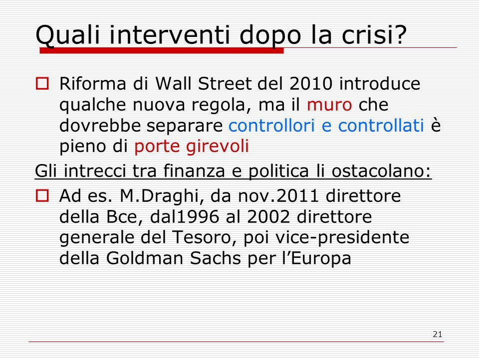 21 Quali interventi dopo la crisi?  Riforma di Wall Street del 2010 introduce qualche nuova regola, ma il muro che dovrebbe separare controllori e co