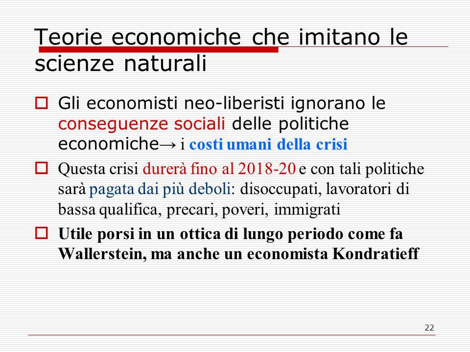 22 Teorie economiche che imitano le scienze naturali  Gli economisti neo-liberisti ignorano le conseguenze sociali delle politiche economiche → i cos