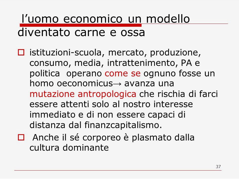 37 l'uomo economico un modello diventato carne e ossa  istituzioni-scuola, mercato, produzione, consumo, media, intrattenimento, PA e politica operan
