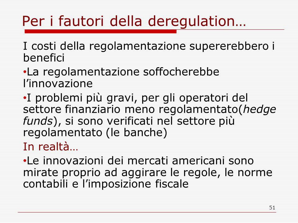 51 Per i fautori della deregulation… I costi della regolamentazione supererebbero i benefici La regolamentazione soffocherebbe l'innovazione I problem