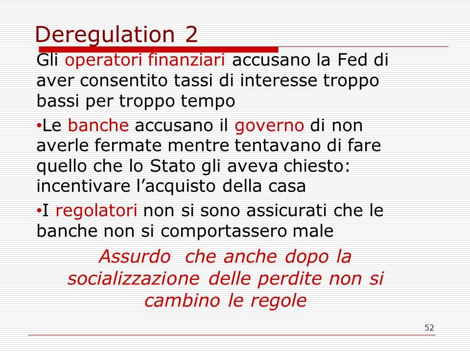 52 Deregulation 2 Gli operatori finanziari accusano la Fed di aver consentito tassi di interesse troppo bassi per troppo tempo Le banche accusano il g
