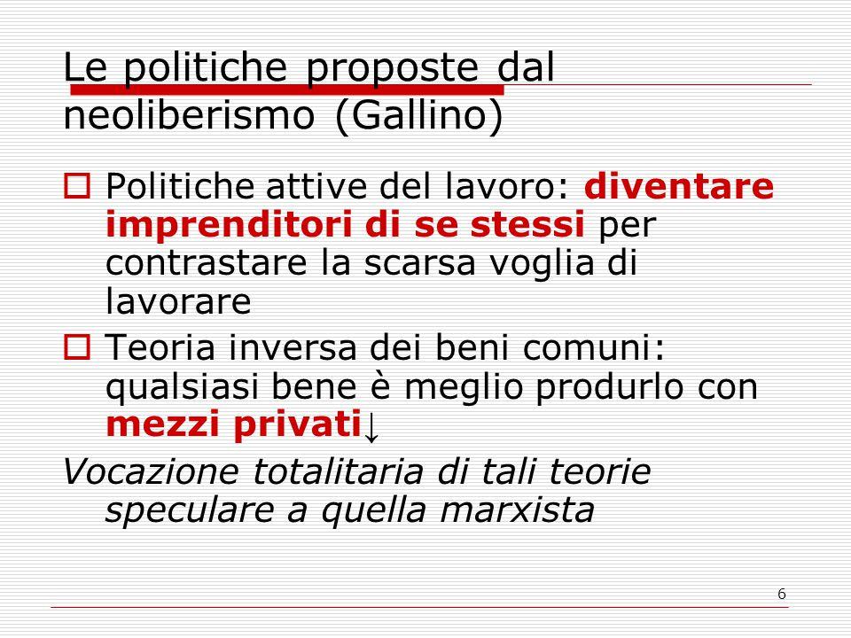 6 Le politiche proposte dal neoliberismo (Gallino)  Politiche attive del lavoro: diventare imprenditori di se stessi per contrastare la scarsa voglia