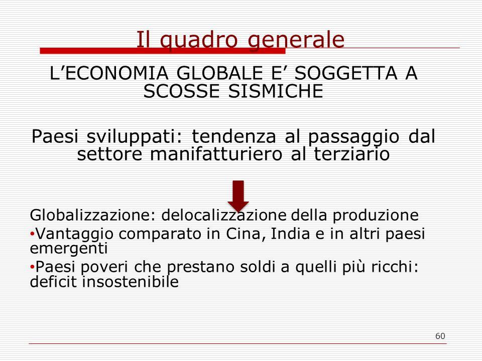 60 Il quadro generale L'ECONOMIA GLOBALE E' SOGGETTA A SCOSSE SISMICHE Paesi sviluppati: tendenza al passaggio dal settore manifatturiero al terziario