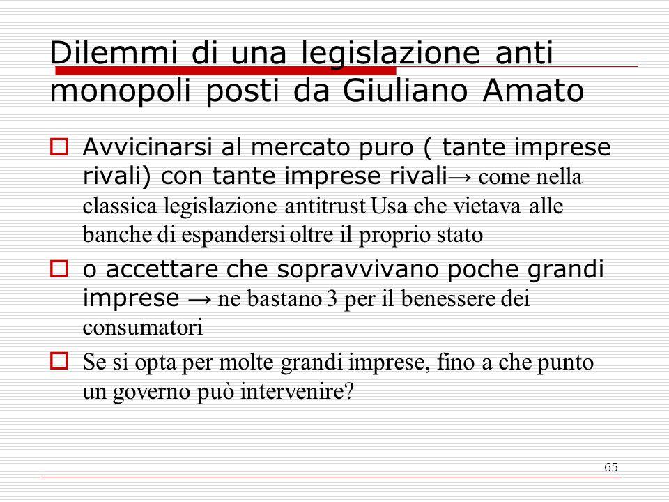 65 Dilemmi di una legislazione anti monopoli posti da Giuliano Amato  Avvicinarsi al mercato puro ( tante imprese rivali) con tante imprese rivali →