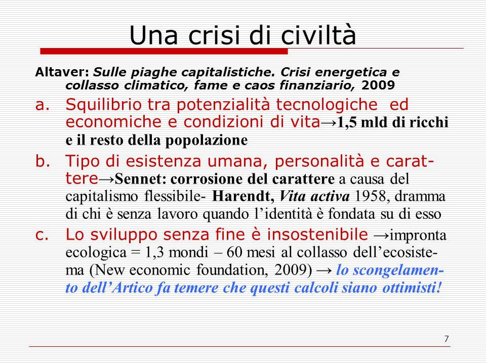 7 Una crisi di civiltà Altaver: Sulle piaghe capitalistiche. Crisi energetica e collasso climatico, fame e caos finanziario, 2009 a.Squilibrio tra pot