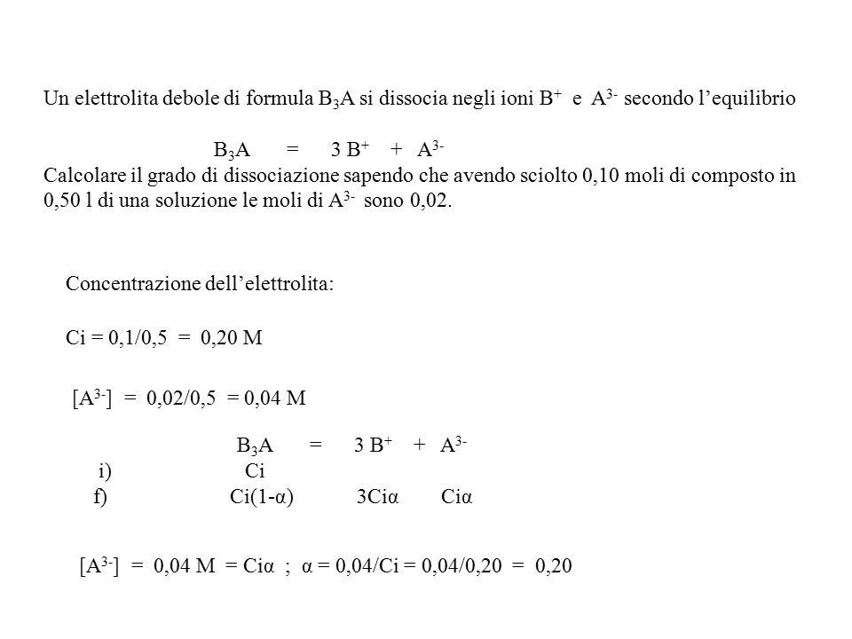 Un elettrolita debole di formula B 3 A si dissocia negli ioni B + e A 3- secondo l'equilibrio B 3 A = 3 B + + A 3- Calcolare il grado di dissociazione