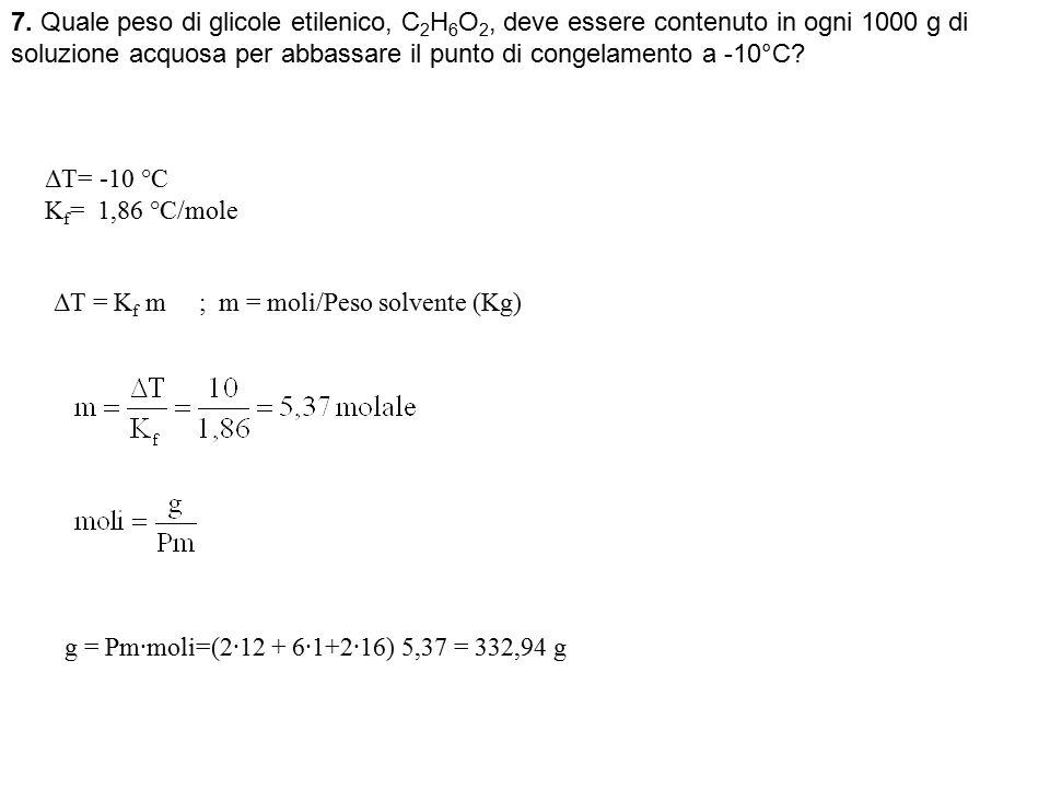 7. Quale peso di glicole etilenico, C 2 H 6 O 2, deve essere contenuto in ogni 1000 g di soluzione acquosa per abbassare il punto di congelamento a -1