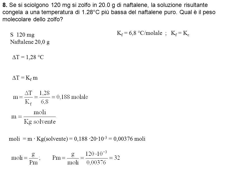 8. Se si sciolgono 120 mg si zolfo in 20.0 g di naftalene, la soluzione risultante congela a una temperatura di 1.28°C più bassa del naftalene puro. Q
