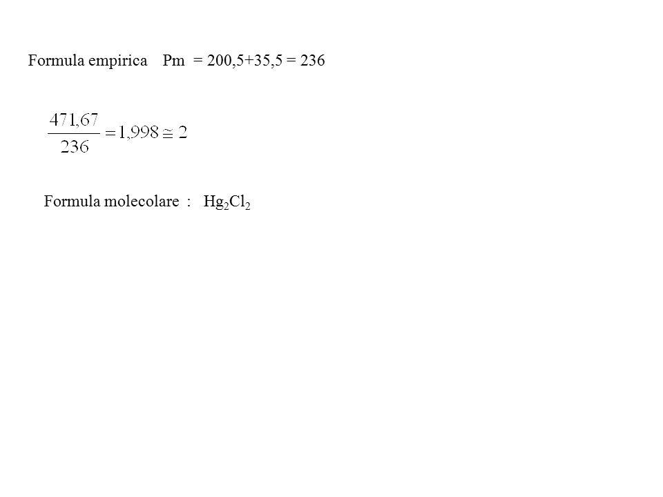 Formula empirica Pm = 200,5+35,5 = 236 Formula molecolare : Hg 2 Cl 2