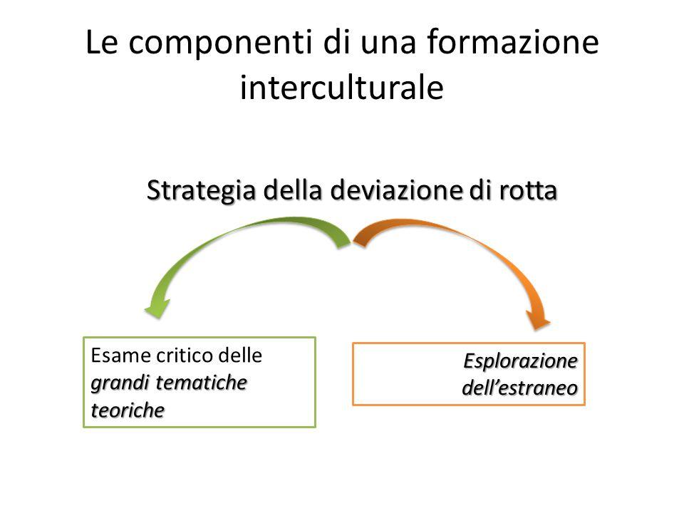 Le componenti di una formazione interculturale Strategia della deviazione di rotta grandi tematiche teoriche Esame critico delle grandi tematiche teoriche Esplorazione dell'estraneo