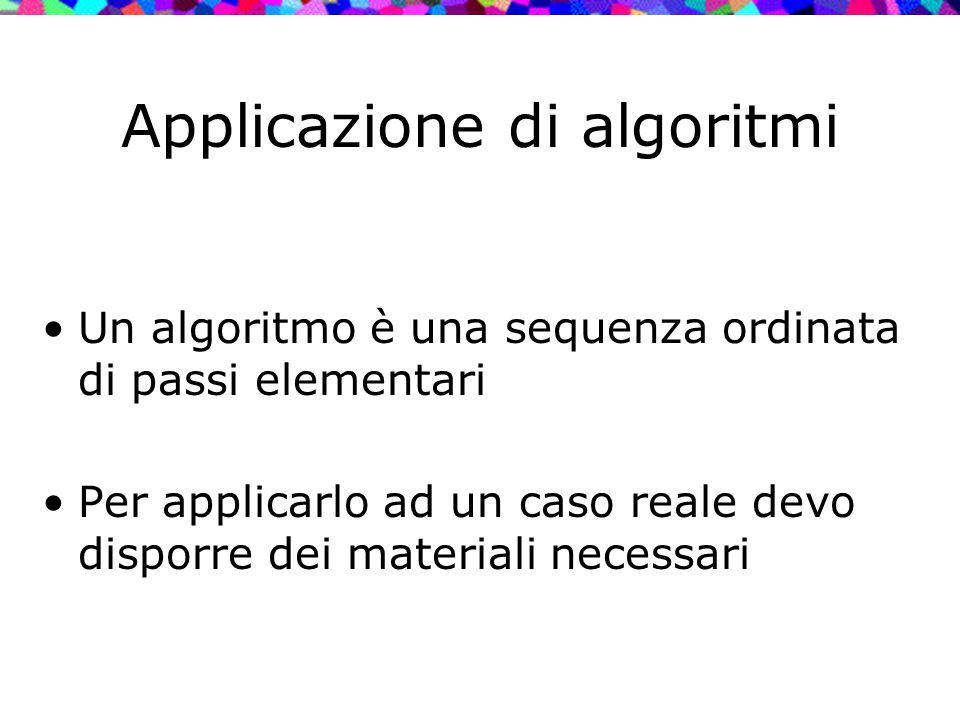Applicazione di algoritmi Un algoritmo è una sequenza ordinata di passi elementari Per applicarlo ad un caso reale devo disporre dei materiali necessa