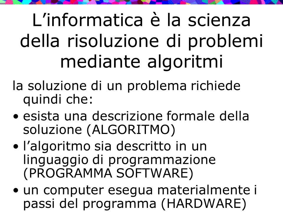 L'informatica è la scienza della risoluzione di problemi mediante algoritmi la soluzione di un problema richiede quindi che: esista una descrizione fo