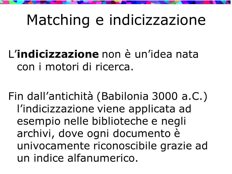 Matching e indicizzazione L'indicizzazione non è un'idea nata con i motori di ricerca. Fin dall'antichità (Babilonia 3000 a.C.) l'indicizzazione viene